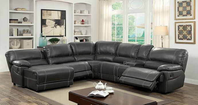 """6 pc Estrella collection transitional style gray breathable leatherette sectional sofa with recliners on the ends. This set features a breathable leatherette upholstery with a recliner on the end and a reclining chaise on the other side with 2 armless chairs and a drink console and corner wedge. Measures 120"""" x 134"""" x 40"""" D x 39"""" H . Some assembly required."""