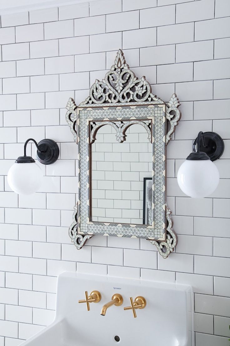 Bijou And Boheme Bathrooms Ceiling Height Subway Tiles White Tile With Dark Grout Tiled Mirror Venetian Gl