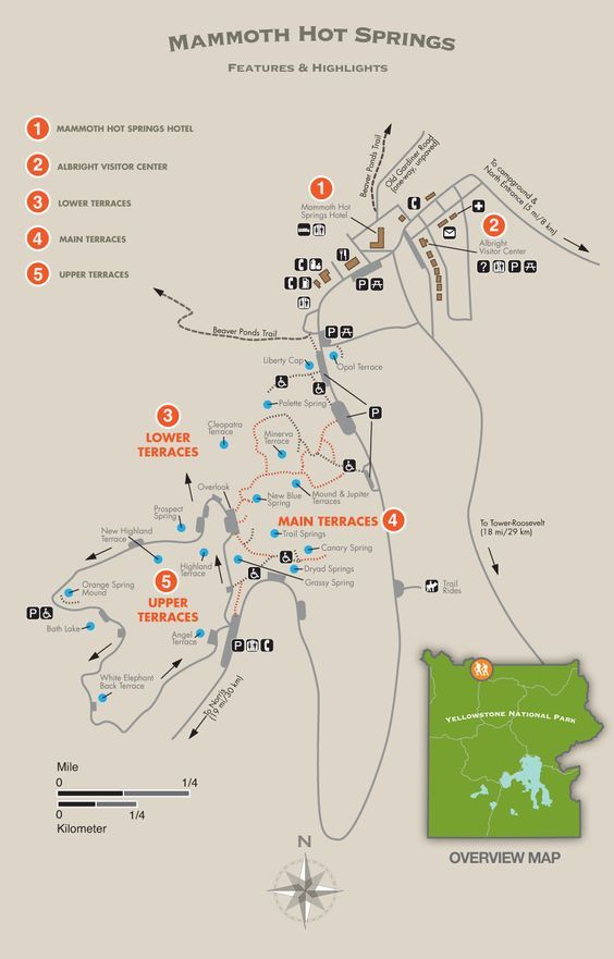 Mammoth Hot Springs Area Trail Map - Yellowstone National Park | USA ...