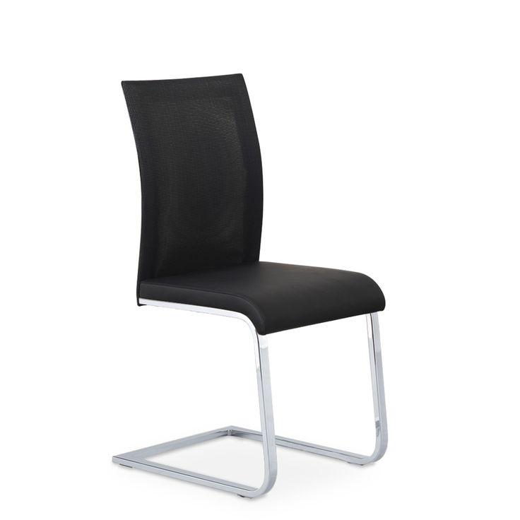 € 69,00 LEA #sedia da #cucina e zona #pranzo, base cantilerver in metallo, sedile imbottito e rivestito in #ecopelle colore #nero, schienale in rete traspirante, in #offerta #prezzo #sconto 70% per #stock fine serie su www.chairsoutlet.com