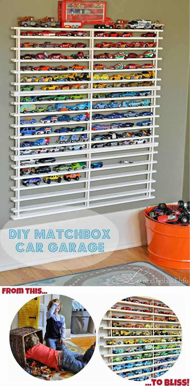 DIY Matchbox Car Wall Garage | 24 Smart DIY Toy & Crafts Storage Solutions | Home Organization Ideas and Life Hacks : http://diyready.com/toy-storage-solutions-life-hack/
