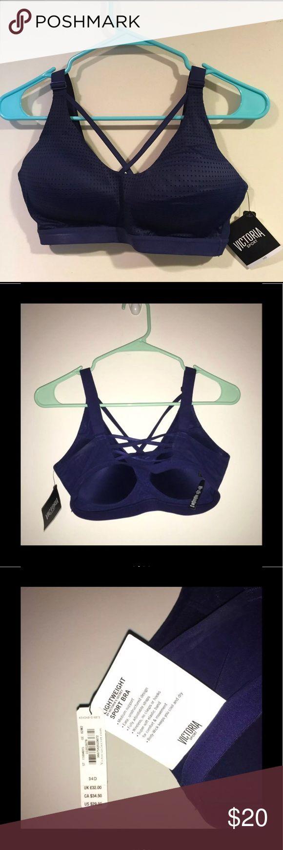 NWTs VS Sports Bra (34D) New with tags.  34D. Navy blue. No holds. Retails for $29.5 Bundle and save.  #vs #sportsbra #34d #victoriassecret #sport Victoria's Secret Intimates & Sleepwear Bras
