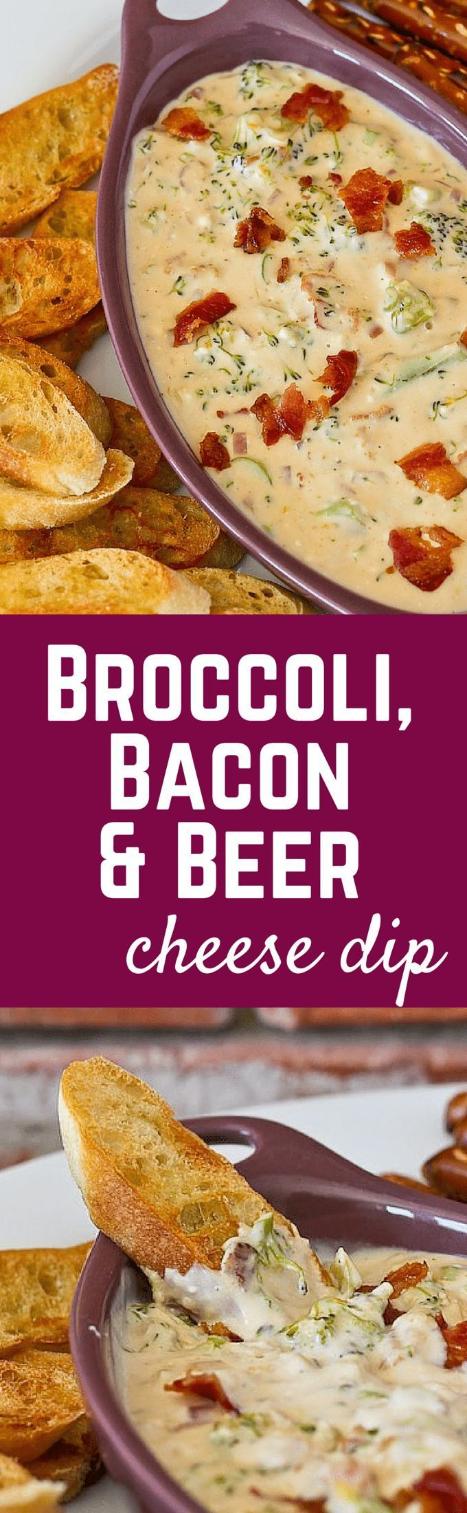This Broccoli, Bacon, and Beer Cheese Dip will be the hit of any party! Get the easy recipe on RachelCooks.com!