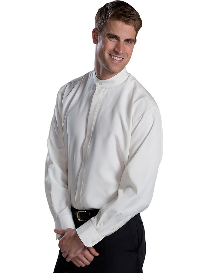 Batiste Banded Collar Shirt offers all day comfort and on trend fashion details. This modern fit has a hidden placket,modern fit and straight back yoke seamand .Fabric is accented with an understated contemporary weave pattern. Perfect for resorts, restaurants or hotel properties.