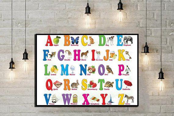 Alphabet poster ABC Poster Kids room décor Baby alphabet Educational ...