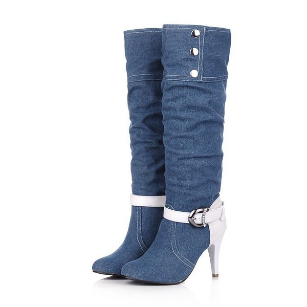 Find More Boots Information about 2014 New casual women's denim boots mixed colors high heels high boots autumn fashion rivet buckle shoes women big size34 43 895,High Quality shoes teva,China shoe chair Suppliers, Cheap shoes emerald from Trendy Men's shoes on Aliexpress.com