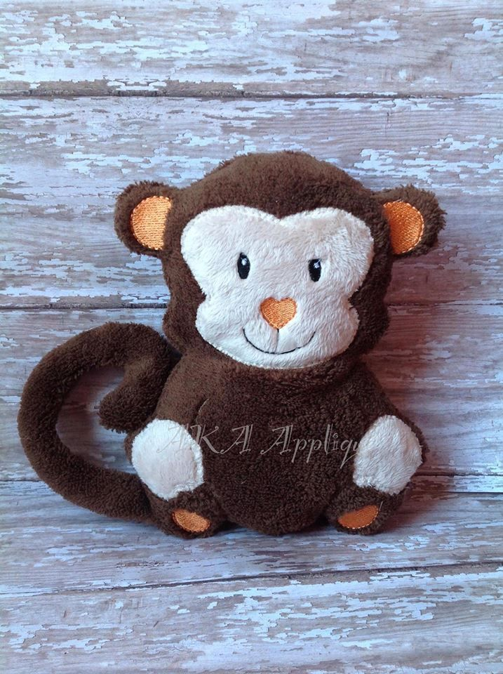 Maggie/Matt Monkey Plushie ITH Embroidery Design This design requires 2 hoopings. The tail is made in one hoop and attached to the monkey during the second hooping. Includes hoop sizes: ...