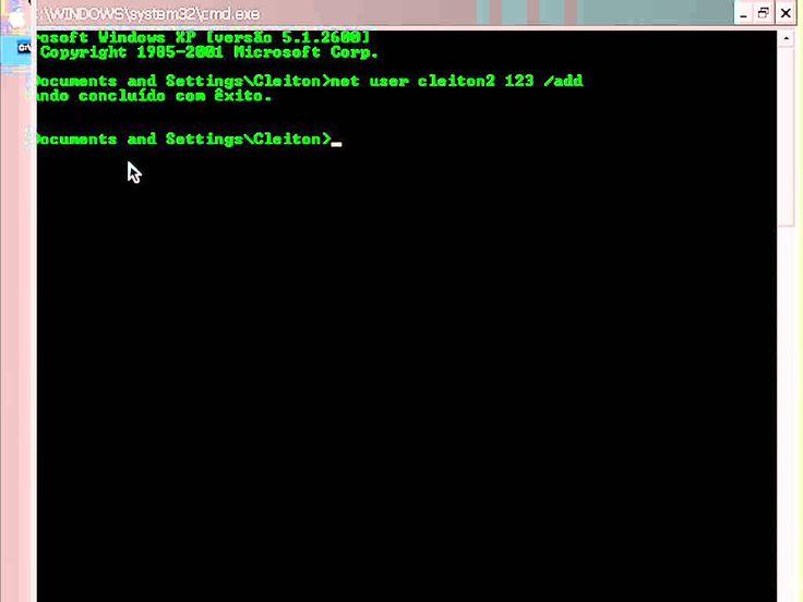 Video aula: como criar ou remover uma conta de usuario pelo cmd (Prompt ...