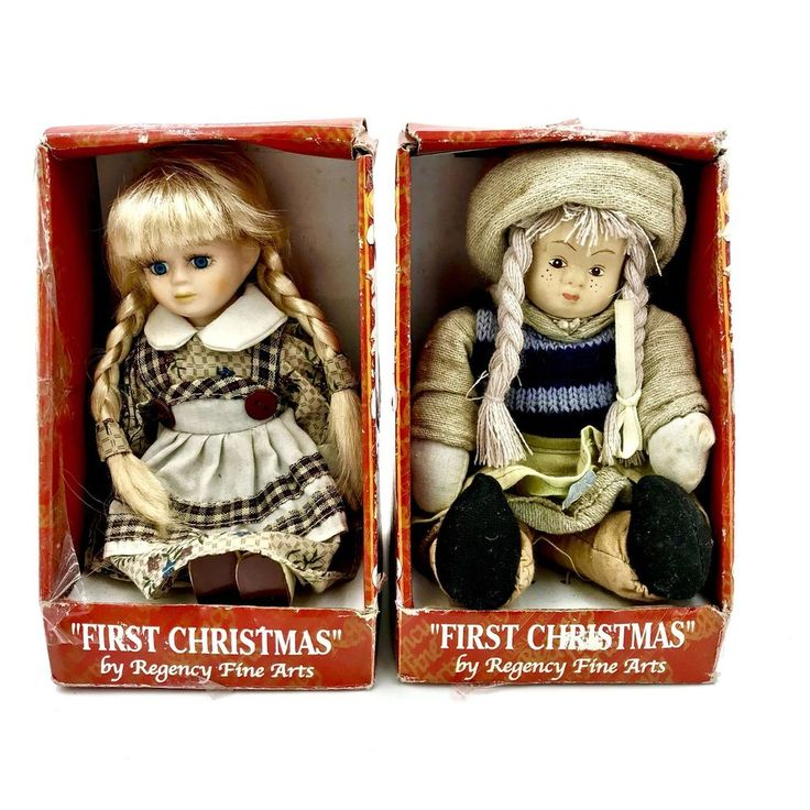First Christmas Dolls X 2 Regency Fibe Arts Collectors Items In Box R38938