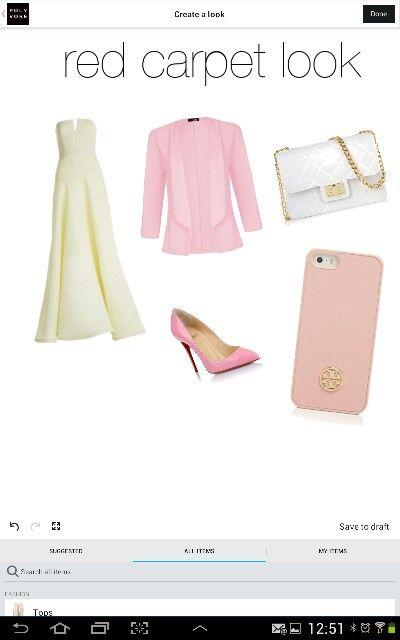 outfit : stilettos rosas, vestido cremita largo, blaser rosa ,bolsito blanco con cadena dorada, funda rosa palido