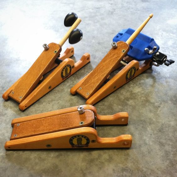 Farmer DownBeat Pedal. Foot percussion as easy as tapping your toe. Add the percussion sound you want. An artistic, handcrafted look but with a magnetic spring that will last a lifetime. www.footdrums.com:
