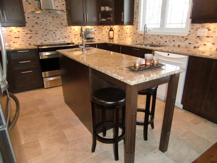 Ilot comptoir granit cuisine contemporaine en polyester - Table de cuisine contemporaine ...