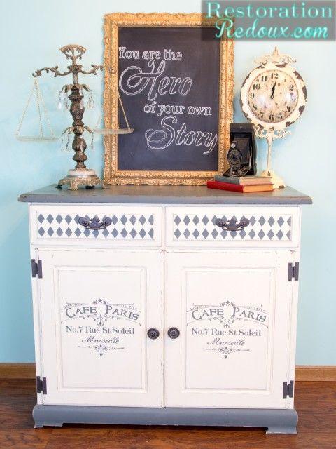 Plaster Paint Stenciled Cabinet - Restoration Redoux http://www.restorationredoux.com/?p=8636