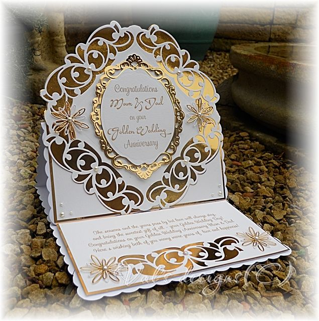 Golden wedding Card made with header dies again