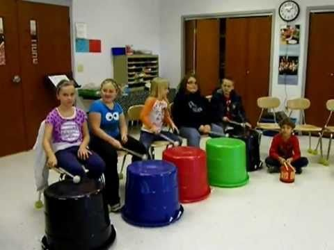 Short drumming video with tubs and containers as drums - 3rd Graders Bucket Drumming