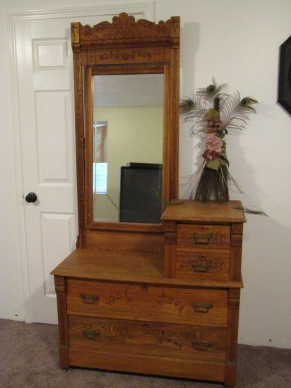 Rare Antique Gentlemans Dresser WBeveled Mirror 1800s