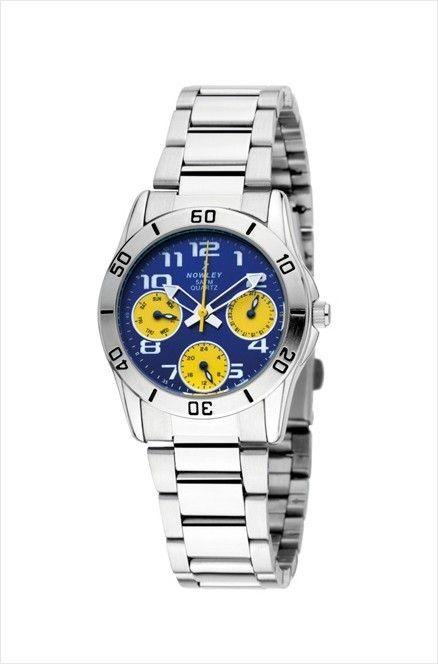 Reloj de pulsera paraniño Nowley, de acero inoxidable, esfera azul y amarilla, maquinaria de cuarzo japonés, Water Resistant 5 ATM (50 m).