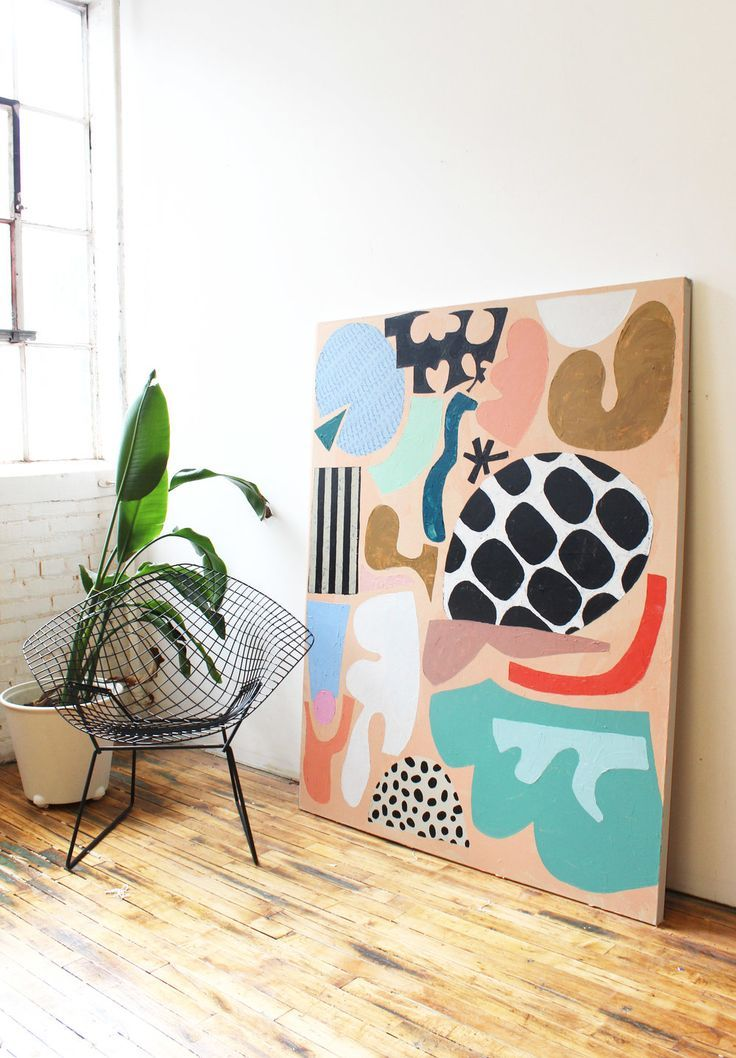 oversized abstract canvas print ; bold color and p…