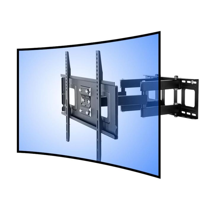 Curved Panel TV Wall Mount Bracket for 32 in. - 65 in. UHD Oled 4k Samsung LG Vizio TVs, Black