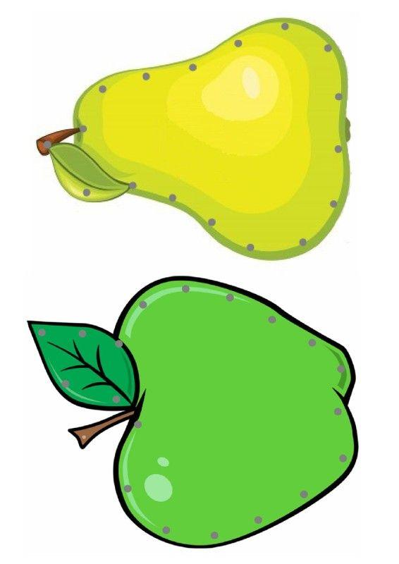 Borduurkaarten fruit / Gabarit - Pomme et poire à lacer
