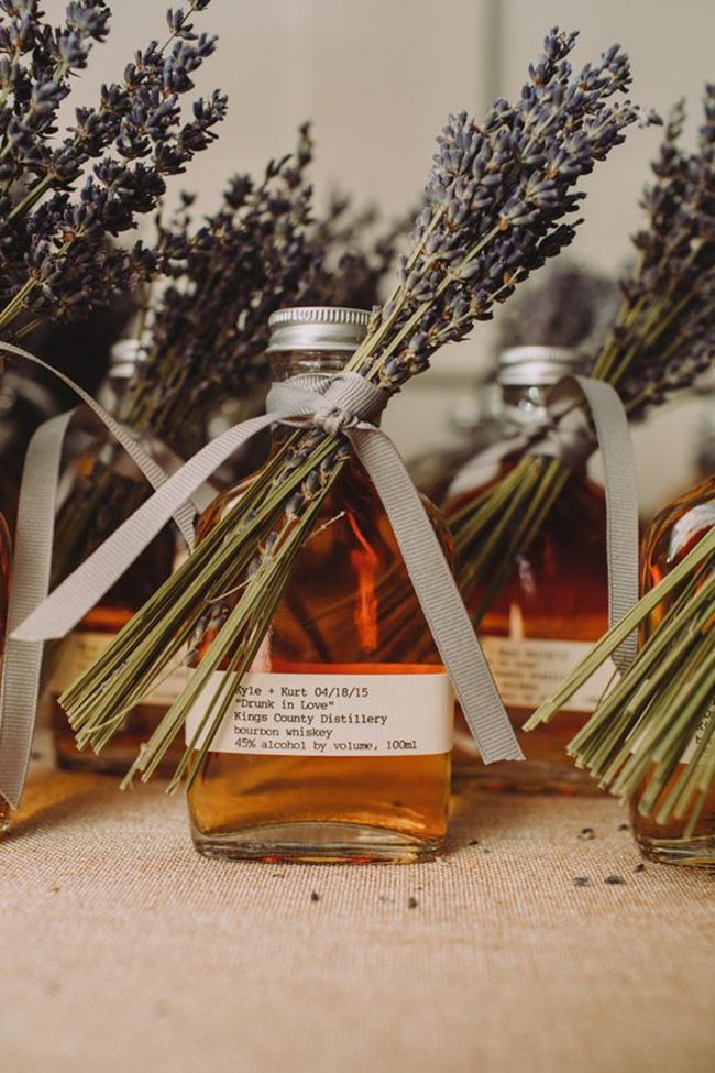 cute bourbon wedding favors with lavender