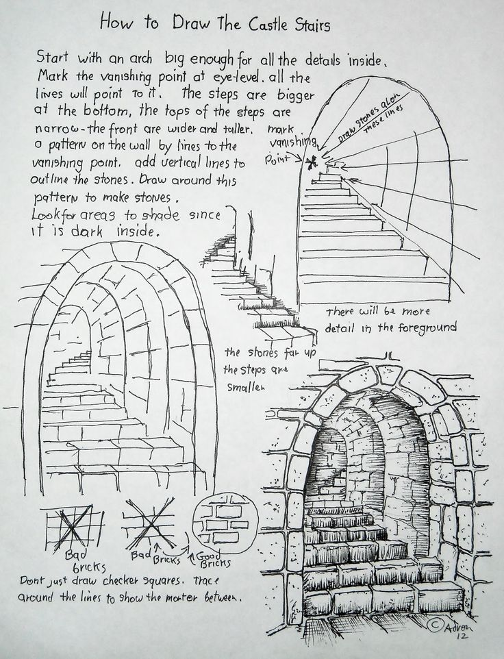 How to Draw, Worksheets for The Young Artist: Stone stairs.