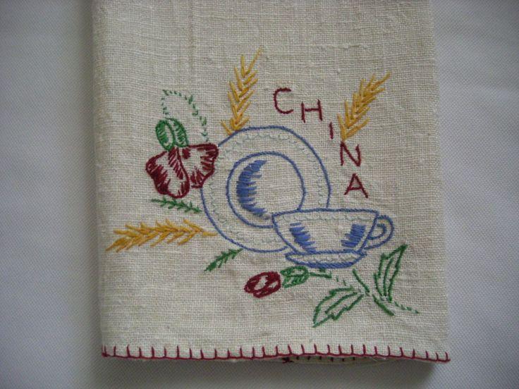 Vintage Kitchen Linen Tea Towel Hand Made Embroidered China Kitchen Linens Vintage And Towels