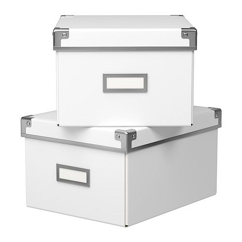 KASSETT Box with lid IKEA Suitable for storing your DVDs, games, chargers, remote controls or desk accessories.
