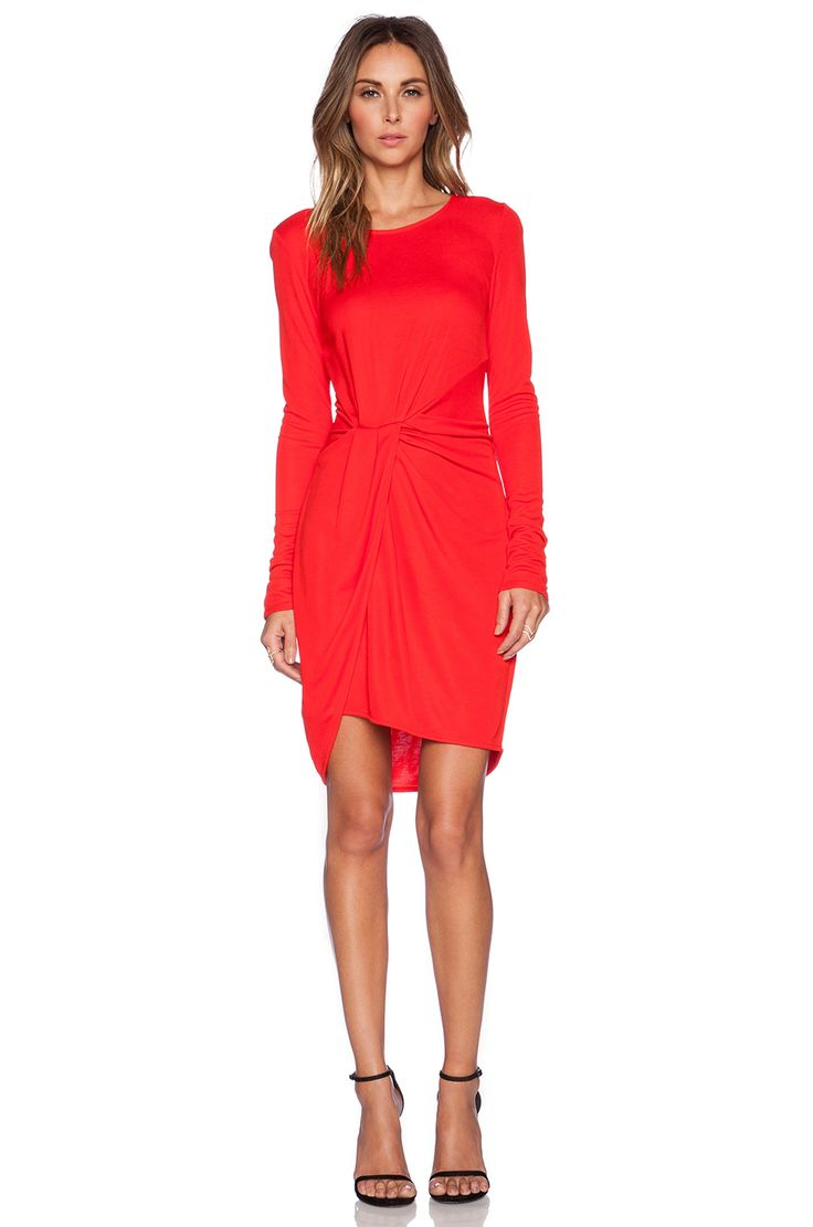 Halston Heritage Long Sleeve Jersey Dress in Lipstick | REVOLVE