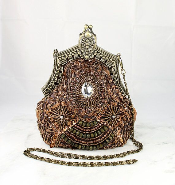 Art Deco Bridal Clutch Evening Bag Purse, Old Hollywood Accessory, Beaded Sequin Handbag Purse Great Gatsby Wedding 1920 Flapper Accessory on Etsy, $112.00
