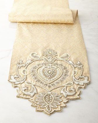 Gold beaded runner for a tablescape with a touch of elegance. Handcrafted of jacquard fabric, Brocade center and beaded ends.