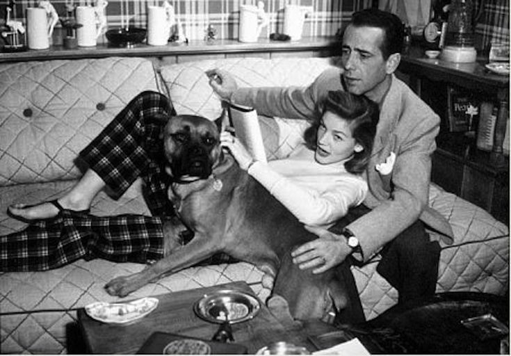 Lauren Bacall and Humphrey Bogart with their beloved boxer.  Photo found on http://pixshark.com
