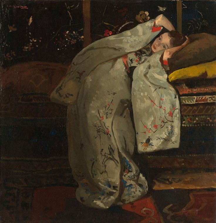 Girl in White Kimono , George Hendrik Breitner, 1894    Rijksmuseum    Inspired by Japanese prints, Breitner painted at least twelve versions of this girl in a white kimono around 1894. Each time, her pose is different and the kimono is a different colour. Here the embroidered white silk kimono with red trimmed sleeves and orange belt are what draw our attention. The dreamy girl is sixteen-year-old Geesje Kwak, a milliner who regularly modelled for Breitner. *Rococo Revisited