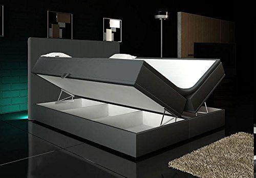Boxspringbett Grau 180x200 inkl. 2 Bettkasten Hotelbett Bett LED Polsterbett Rio Lift