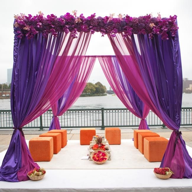 Purple and orange ceremony mandap at the Museum of Science in Boston, MA. Binita Patel Photography. More: http://www.theknot.com/weddings/album/a-modern-hindu-wedding-at-the-museum-of-science-in-boston-massachusetts-172954