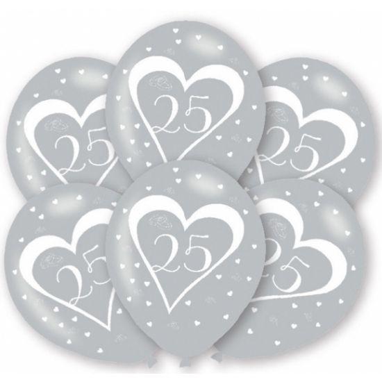 Zilveren ballonnen, 25 jaar. Geschikt voor verjaardagen of bijvoorbeeld het zilveren huwelijk. U kunt de ballonnen vullen met helium of lucht. Op te blazen formaat: 27,5 cm. Inhoud per zakje: 6 stuks.