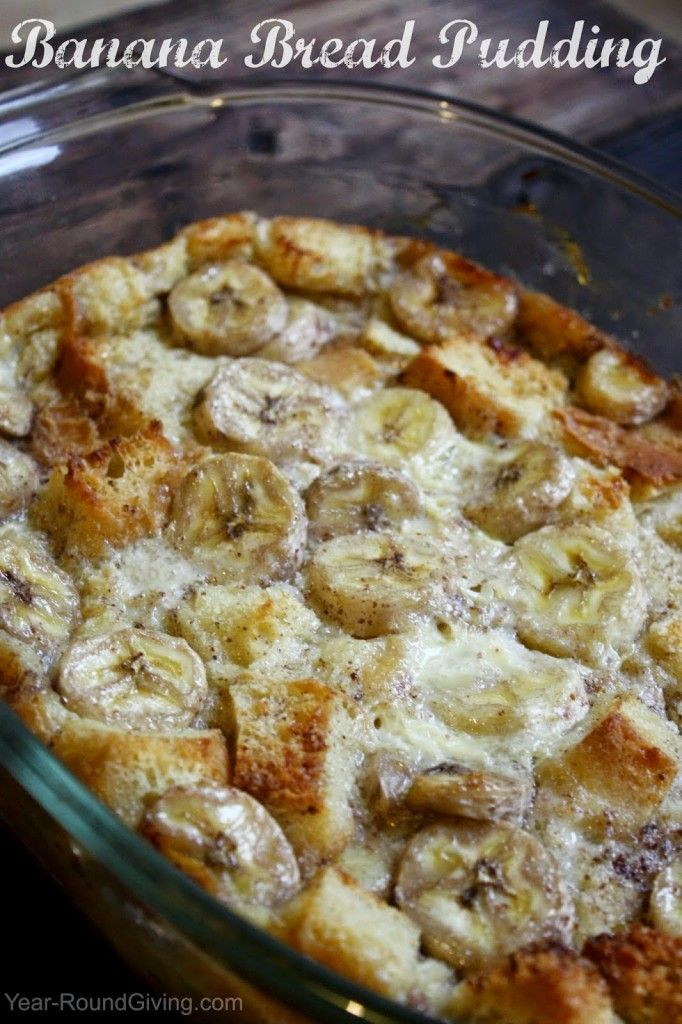 Banana Bread Pudding served with a warm vanilla sauce. Perfect dessert to serve when the weather gets colder.