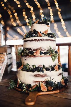 Semi Naked Wedding Cake with Fig Decor | Stylish Autumnal Wedding At Stone Barn Cotwolds With Bride In Jesus Peiro