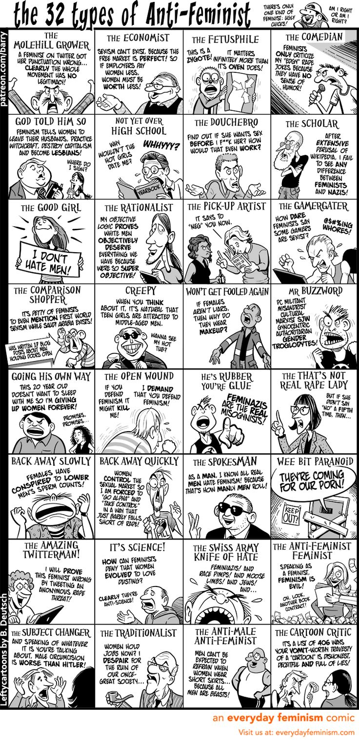 This Cartoon Nails the 32 Types of Anti-Feminists – How Many Have You Come Across? — Everyday Feminism