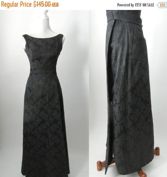 Vintage 1960s black damask gown by Stephen OGrady. Fully lined in black rayon, this has a front skirt panel and attached waistband that buttons at the back. Back metal zipper.  Size: small, US 4-6 / UK & AUS 8-10 / EUR 36-38 Condition: excellent, no issues  Length 52 (132cm) Bust 34 (86cm) Waist 24 to tight 26 (61-66cm) Hips 34 Bodice length 14.5 (37cm)  All of our garments are cleaned and ready to wear.  Vintage 1930s cream satin wedding gown with matching veil https:/&#x2...