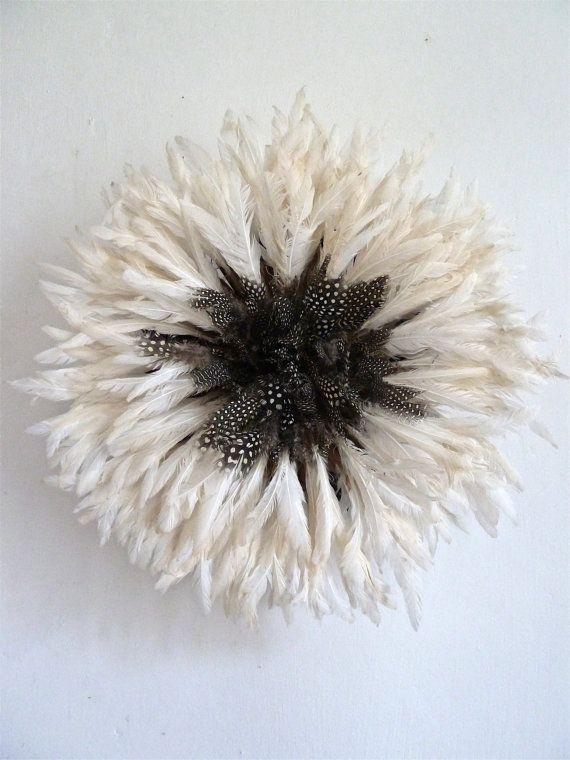 Juju Hat - Bamileke Feather Headdress - Natural White & Guinea-Fowl - Diameter : 45 cm  RARE