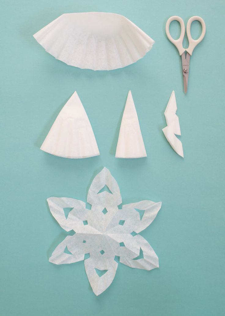 Easiest paper snowflakes... made from coffee filters and cupcake papers.