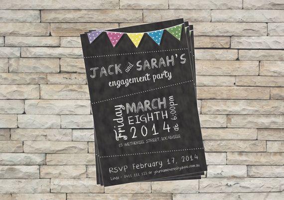 Engagement Party Invitation - Blackboard or Chalkboard on Etsy