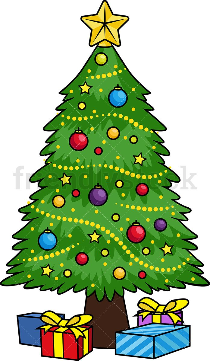Picturs Of 2020 Decoratied Christmas Trees Decorated Christmas Tree Cartoon Vector Clipart   FriendlyStock in