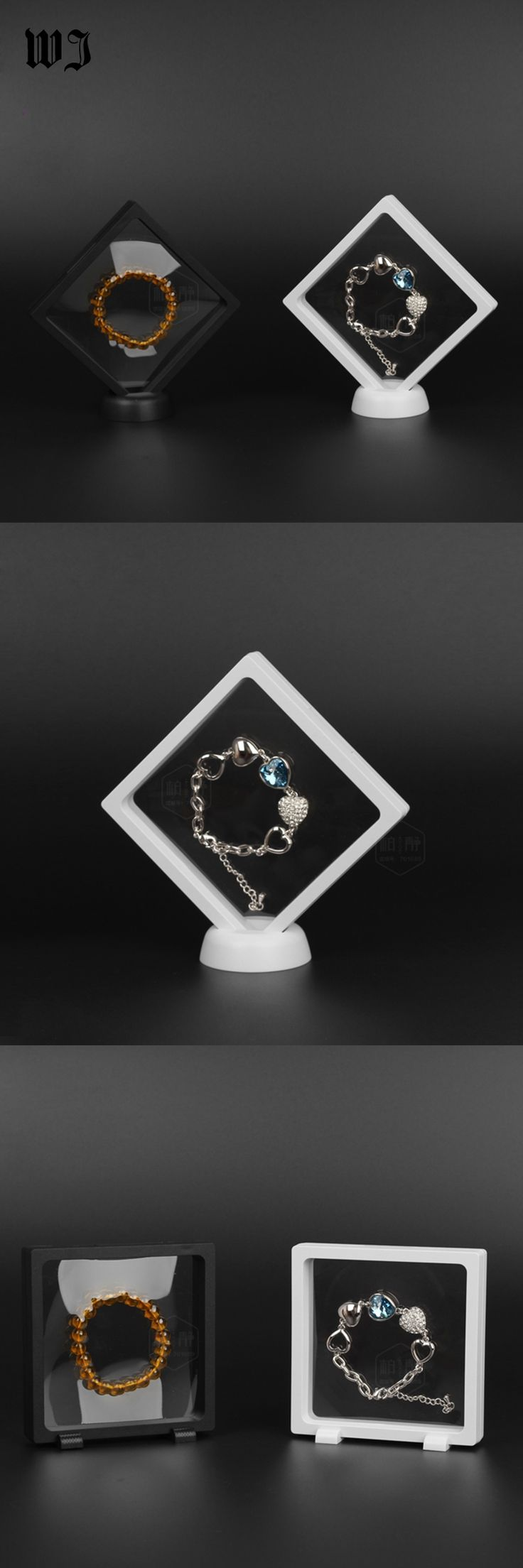 Floating Jewelry Display Case Plastic Frame Transprent Elastic Membrane For Ring Necklace Pendant Bracelet Pearl Amber 11*11cm
