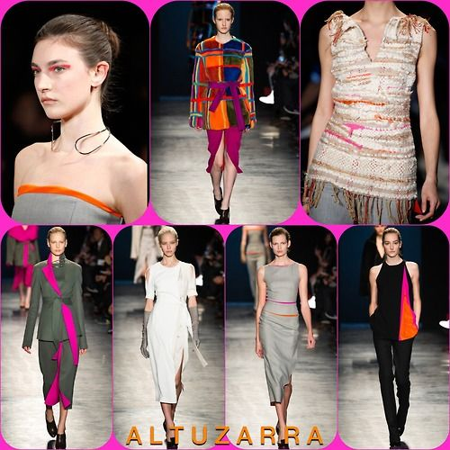 Altuzarra  RTW FW14  Stylist Picks: It's pretty clear at OWIW that my favorite color combo is orange and pink so the slashes of color at altuzarra had me over the rainbow. From the subtle sheath dresses and double faced coats to the intricately woven pieces and the boldly color blocked fur, it was an exciting yet refined collection.  Source: oncewheniwas