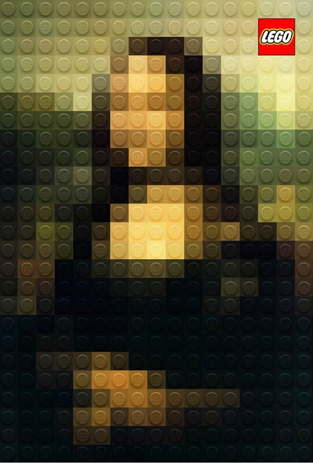 """""""All the children are authentic artists with LEGO"""" : Un joli concept de publicités pour LEGO imaginé par le directeur artistique italien Marco Sodano, qui fait se rencontrer les chefs d'oeuvre de la peinture classique avec les célèbres jouets de construction."""