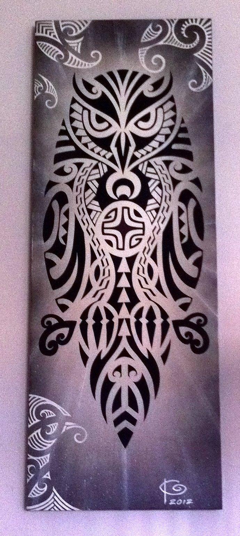 #Polynesian #owl #painting #art (Pueo)  #samoan #tattoo                                                                                                                                                      Mais
