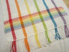 Woven Rainbow Tea Towel Using your stash of knitting yarns for weaving