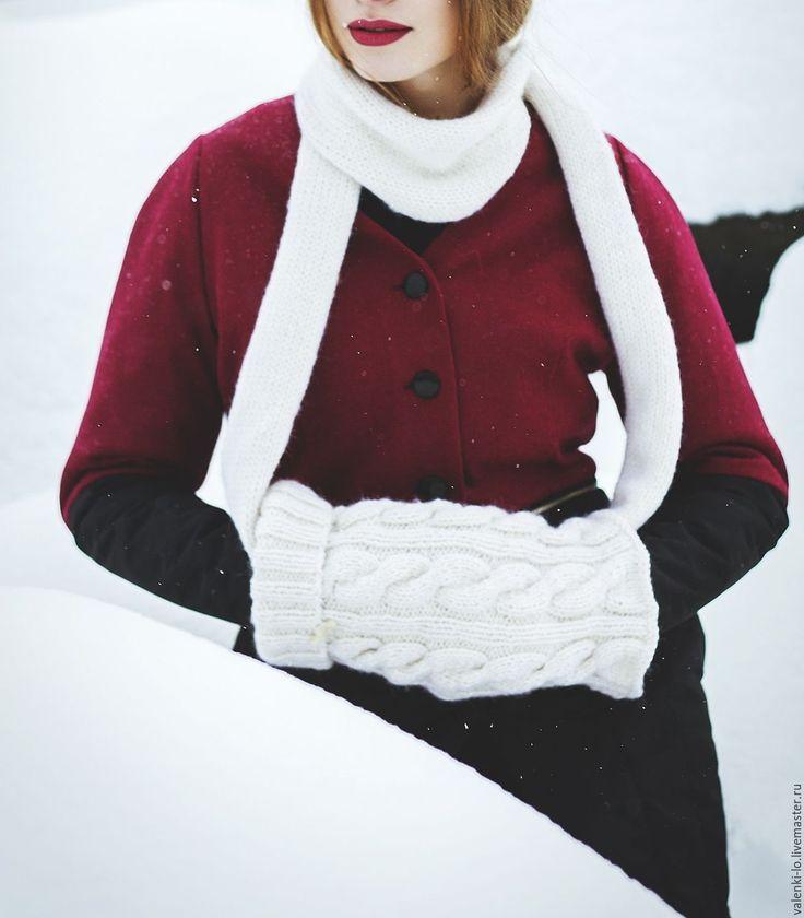 Купить Муфта-снуд белая - белый, шапка, муфта, муфта для рук, шарф, шарф женский
